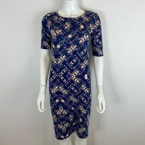 Lularoe navy blue and cream dress